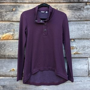 Merrell Indira Snap Placket Pullover Top Blue Red
